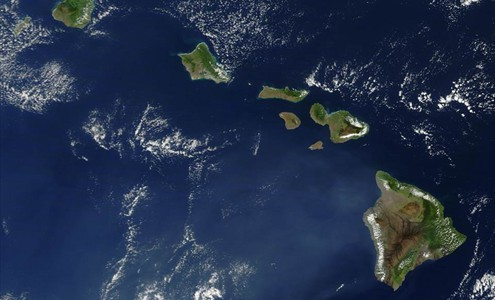 Skyview of the Hawaiian Islands