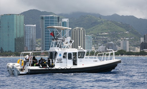 The R/V Kohola on the water near Honolulu