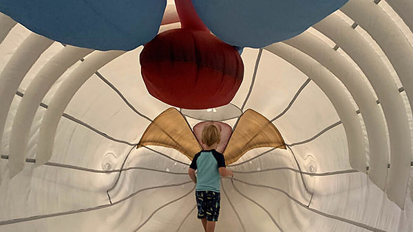 a child inside an inflatable humpback whale